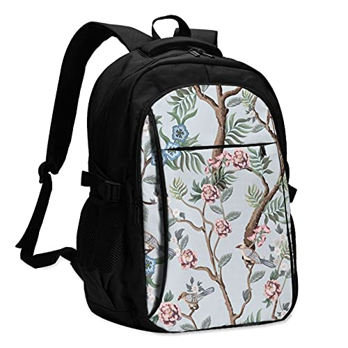 Buibuhii Peonies Trees And Birds Laptop Backpack With Usb Charging Port For Women Men Teen Youth Adult Usb Backpack College Students Backpack Travel Backpack Computer Backpack For School Travel Daily Use