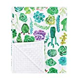 YIQIGO Watercolor Texture with Succulent Cactus Plant Baby Blanket Swaddle Kid Toddler Blanket (Purple Flower)