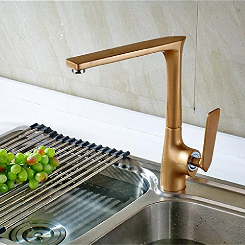MEIBATH Küchenarmatur Mischbatterie Küche Wasserhahn Spültischarmatur Backen aus Messing Farbe Farbe Gold kalt Hei einzelnen Hebel Einlochmontage Wasserhahn