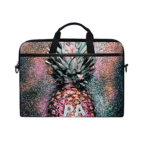 MRMIAN Vintage Glitter Tropical Pineapple Art Laptop Case Bag Sleeve Portable/Crossbody Messenger Briefcase Convertible w/Strap Pocket for MacBook Air/Pro Surface Dell ASUS hp Lenovo 15-15.4 inch