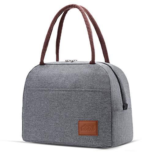 Moyad Kühltasche Klein Leicht Lunch Tasche Isoliertasche zur Arbeit Schule Faltbar Wasserdicht Reißverschluss 12L Grau