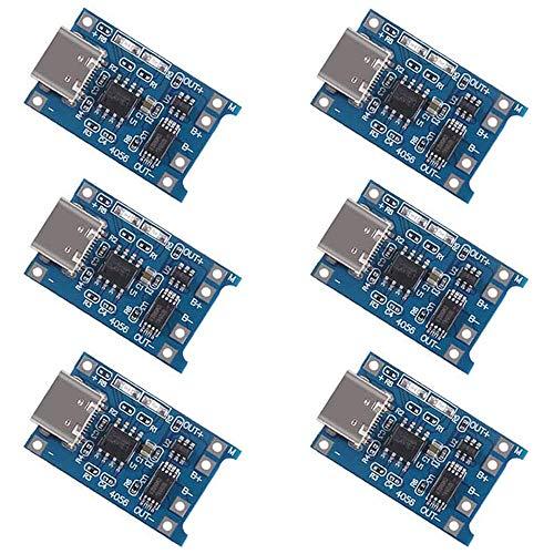Greluma 6 Piezas TP4056 Tipo-C Interfaz de Entrada USB 5V 1A 18650 Módulo...