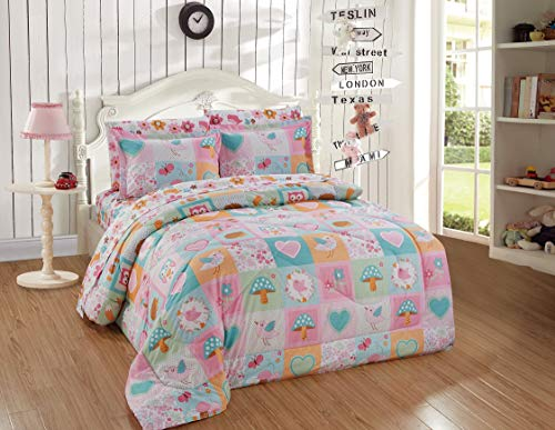 Kids Zone Home Linen 5 pc Twin Size Comforter Set for Girls/Teens Patchwork Owl Multi-Color Pink Blue Owl Birds New