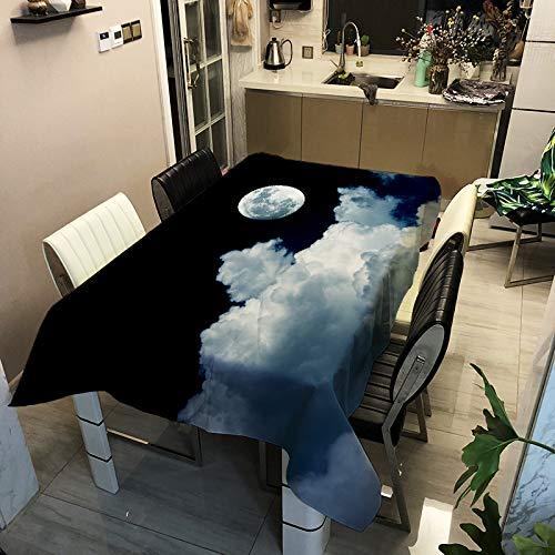 LWCOTTAGE Mantel Estampado,Personalizado Impermeable Rectangular Mantel Luna Nocturna Paisaje 3D Impreso Tela De Poliéster Tela De Mesa Mate Familia Tela Decorativa, 8,100X140Cm