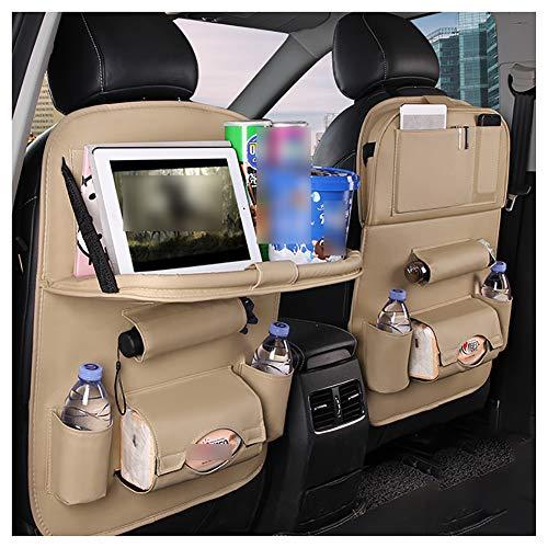 GYUE Organizador de asiento de coche, organizador de asiento de coche con mesa de bandeja, caja de pañuelos para tableta, protector de asiento trasero para niños Baby Kick Mat- 1 paquete de 3