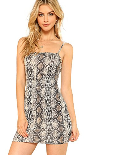 Floerns Women's Snakeskin Print Mini Cami Bodycon Dress