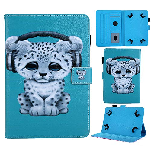 Popbag Universal Case for 8/8.4 Inch Tablet, Slim Lightweight Stand Card Holder Case for Galaxy Tab A 8.0 T290 T387 T380/ Tab A 8.4' T307/ Tab M8 8'/ Onn 8'/ HD 8/ Android Tablet 8 Inch, Snow Leopard