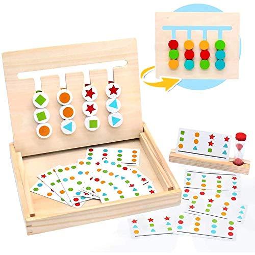 Uymkjv Juego de clasificación matemática educativa de Madera. Los Juguetes educativos para niños con Modelos de Tarjetas y Relojes de Arena Son adecuados para niños de Distintas Edades