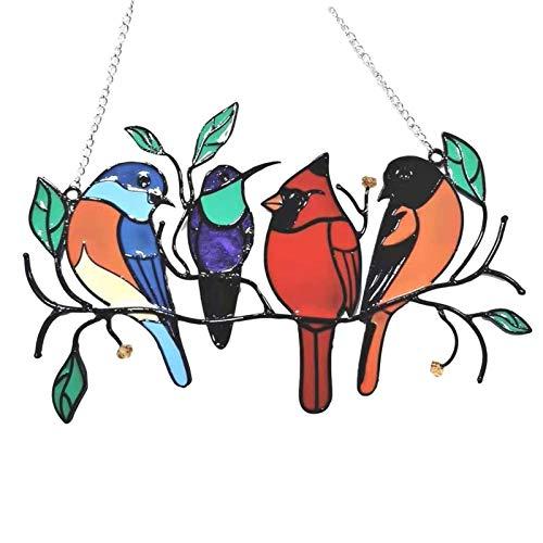 Oiseaux Multicolores sur Un Fil De Tache Taché De Fil Suncatchers, Oiseaux-sur-Un-Fil pour Amant D'oiseau, Personnalité Oiseaux De Fenêtre Panneau Pendentif Vitres Vitrages pour La Décoration