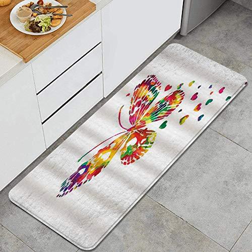 VAMIX Tappeto da Cucina,Farfalla fantasia decorazione a forma di cuore acquarello dipinto farfalle,antiscivolo passatoia da cucina antiscivolo zerbino tappetino per il bagno