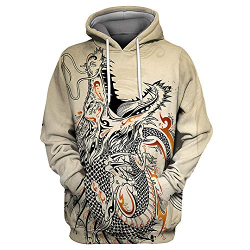 XIOUOUSD Graffiti Roaring Dragon Print Beige Hombre Sudaderas con Capucha 3D Casual Tylmsc0002 L