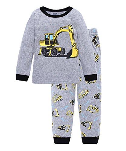Little Hand Jungen Zweiteiliger Schlafanzug Baumwolle Lange Nachtwäsche Fahrzeug Bagger Kinder Pyjama, Grau-1, EU 104(3-4Jahre)=Tag 4Y
