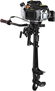 Enshey Boat Motor Engine, 4 Stroke 3.6 HP Outboard Motor Water Cooling 55CC Boat Engine with Air Cooling System, Shipped from US, 3-5 Days