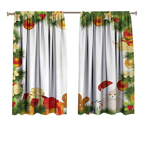 Kids Christmas Window Curtains/Drapes Garland Frame Design with Evergreen Fir Tree Bear Toy and Gingerbread Man Light Blocking Curtain 72x63 inch