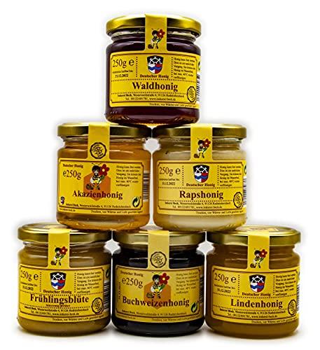 Imkerei Beck® - 6 x 250g / 1500g / 1,5kg Honig / Echter Deutscher Imkerhonig im Vorteilspack / Bienenhonig direkt vom Imker aus Bayern (3x cremig & 3x flüssig)
