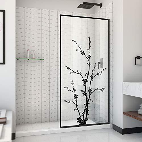 DreamLine Linea Blossom 34 in. W x 72 in. H Single Panel Frameless Shower Door, Open Entry Design in Satin Black, D3234720ZNB-09
