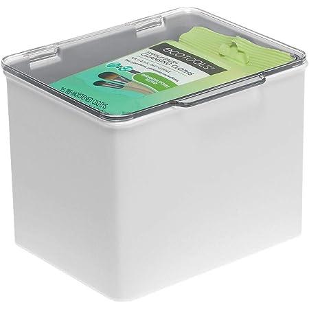 mDesign boite de rangement en plastique – bac de rangement en plastique empilable avec couvercle pour médicaments, etc. – bac plastique au lieu d'une armoire à pharmacie – gris clair et transparent