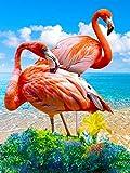 5D Diamond Painting Kit, DIY Diamond Painting Full Kits Kunst Full Drill Set für Erwachsene oder Kinder, Diamond Painting Drill Stickerei Kreuzstich Home Room Wanddekoration Dekoration, Flamingo Stil