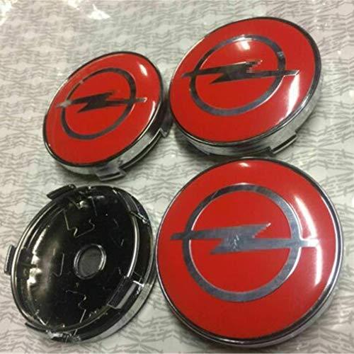 LOPLP Cubierta Central de Rueda de Coche Tapas de Cubo Tapas de Cubo para Opel Astra H G J Insignia Mokka Zafira Corsa, Cubiertas de Emblema de llanta de Rueda de Coche, 60 mm, 4 Piezas