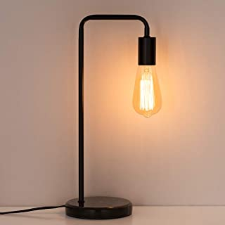 HAITRAL Industrial Desk Lamps - Classic Modern Black Bedside Table Lamp with Marble Base and Metal Frame, Task Lamp for Office, Den, Dorm, Bedroom, Kids Room (Bulb Not Included)