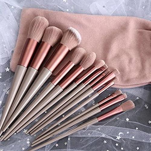 SXPSYWY Fábrica directa ultra explosivo belleza maquillaje cuatro temporadas qing seco maquillaje cepillo conjunto cerdas súper suave 13 rubor en polvo rojo cepillo-Pink 13 sets + bolso de tela
