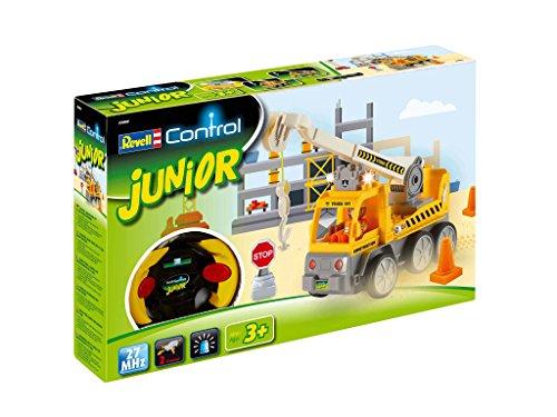 RC Auto kaufen Baufahrzeug Bild: Revell Control Junior RC Car Kranwagen - ferngesteuertes Baufahrzeug mit 27 MHz Fernsteuerung, kindgerechte Gestaltung, ab 3, zum Bauen und Spielen, mit Spielfigur, LED-Blinklichtern - 23002*