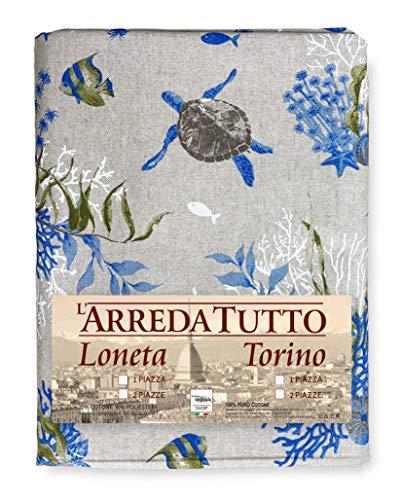 Telo ARREDO copritutto Gran Foulard copriletto COPRIDIVANO Tessuto Dory Mare Marino Coralli Azzurro (1 Piazza)