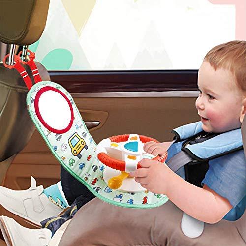 Kindersitz Spielzeug - Autositz Spielzeug für Neugeborene Lenkrad Spiel Aktivitätscenter mit Musik, Lichtern und Spiegel | Fun Travel Baby Toy für Autositz | Einfachere Fahrt mit Neugeborenen, Babys
