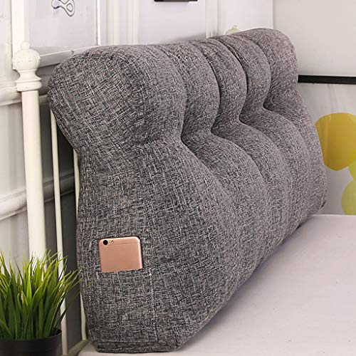 Headboard Cushion, Triangular Cushion Pillow Big Soft Reading Pillow Soft Upholstered daybed Sofa Bed Office Chair Wedge Pillow Cushion-Dark gray-120 * 50 * 15Cm