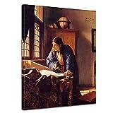 Wandbild Jan Vermeer Der Geograph - 30x40cm hochkant - Alte Meister Berühmte Gemälde Leinwandbild Kunstdruck Bild auf Leinwand