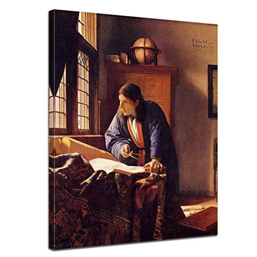 Bilderdepot24 Bild auf Leinwand | Jan Vermeer - Der Geograph in 90x120 cm als Wandbild | Wand-deko Dekoration Wohnung alte Meister | NEU-180209-90x120-dg