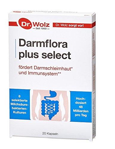 Darmflora plus select Dr. Wolz | hochdosierte Bakterienkulturen 48 Mrd/Tag | Vitamin B6 und B12, unterstützt gesunde Schleimhäute | 8 Milchsäurebakterien | Vegan | 20 Kapseln
