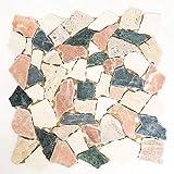 MOS44-1204 - Piastrella a mosaico, in marmo naturale, colore: crema, beige, rosso, verde, rompe, ciot Random