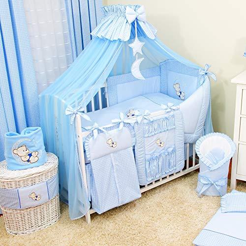 Bello 16tlg. Baby Bettwäsche-Set | Babynestchen-Set Kinderbettwäsche für Jungen und Mädchen | Betthimmel für Babybett | Babybett Komplett Kinderbettwäsche-Set | Babybettwäsche (70x140 cm, Blau)