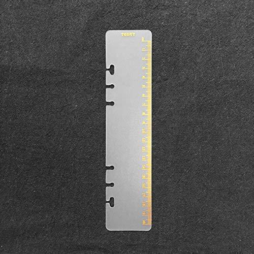 8.5インチプラスチック A5 6穴カバー ラウンドリングビューバインダー ファイルフォルダー ルーズリーフシートプロテクター/ノートブック リフィル/DIYスクラップブック/バインダーカバープロテクター,A5 Today 定規 02 ゴールデン,1パッケ