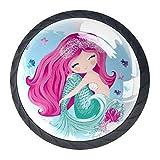 Bennigiry 4 Stück 30 mm niedliche Meerjungfrauenfische Kristallglas Schrankknauf Schubladengriff für Küche, Schrank, Kommode, Kleiderschrank usw.