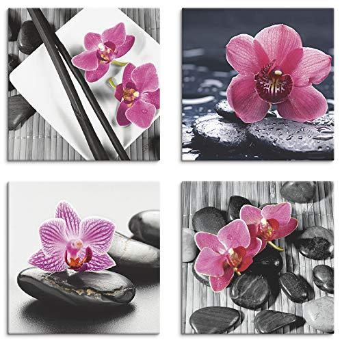 Artland Leinwandbilder auf Holz Wandbild Bild Set 4 teilig je 20x20 cm Quadratisch Wellness Zen Stein Pink Rosa Asien Orchidee S6MO