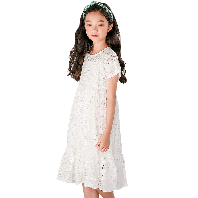 Lucky kids 子供 ワンピース 半袖 女の子 レース ジュニア 夏用 春 ドレス キッズ 白 フォーマル 結婚式 発表会 フリル おしゃれ