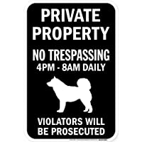 PRIVATE PROPERTY ブラックマグネットサイン:アラスカンマラミュート シルエット 英語 私有地 無断立入禁止