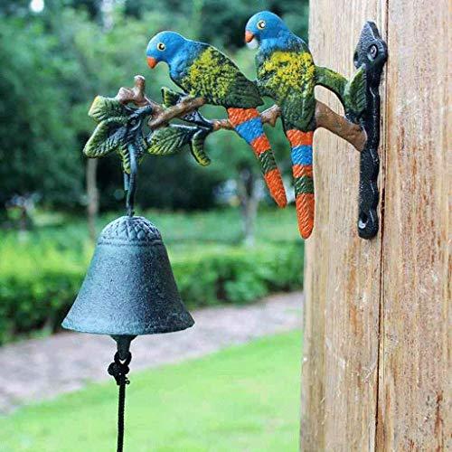 Riyyow Pájaro Loro jardín Patio Campana Campana Campana Mano Campana Puerta Frente Europeo Americano Pueblo Vintage Fundido de Hierro Arte Timbre 18.5x7.5x14cm