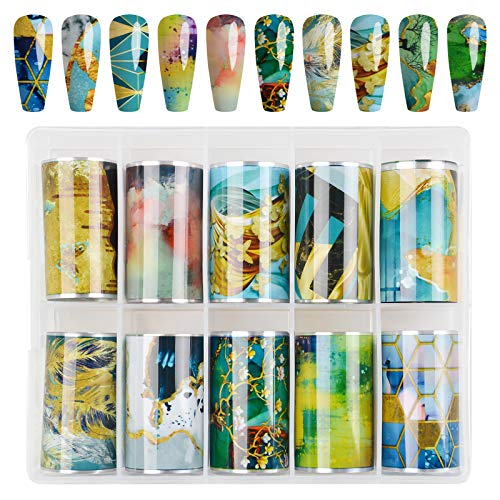 10 Piezas Nail Foil Transfer Sticker, EBANKU Holográfico Nail Stickers Tips Wraps Sticker Glitters Kit de decoración para manicura Acrílico DIY Decoración