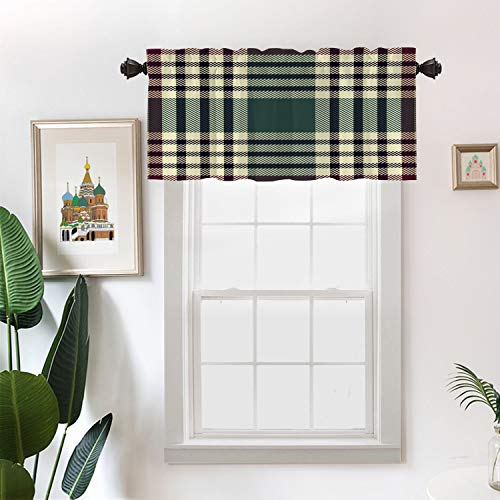 Batmerry Abstract Celtic Christmas Kitchen Valances Half Window Curtain, Abstract Madras Plaid Pattern Britain Celtic Check Checkered Kitchen Valances for Bedroom Valance for Decor Reducing The Light