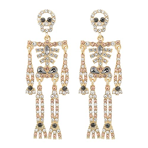 Women Girls Halloween Crystal Skeleton Dangle Earrings, Bling Rhinestone Skull Earrings Gothic Skull Dangle Earrings Set