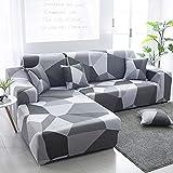 WXQY Funda de sofá de Esquina con patrón de Lino, Utilizada para la Funda de sofá de la Sala de Estar, sofá elástico con Todo Incluido, sillón Chaise Longue A23 de 1 Plaza