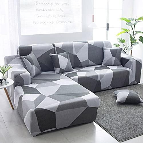 WXQY Funda de sofá de Esquina con patrón de Lino, Utilizada para la Funda de sofá de la Sala de Estar, sofá elástico con Todo Incluido, sillón Chaise Longue A23 de 3 plazas