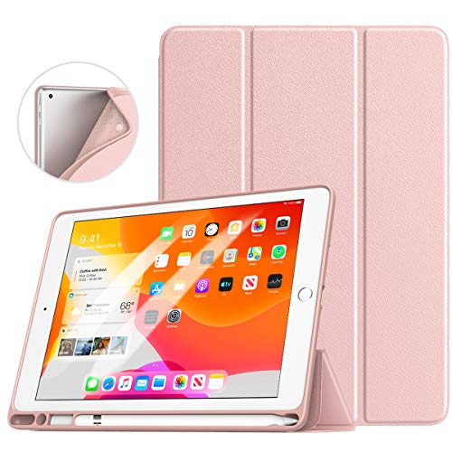 TiMOVO Case for New iPad 7th Generation 10.2' 2019 with Apple Pencil Holder, [Light Weight] Slim Back Protective Case with Auto Wake/Sleep, Smart Case Fit iPad 10.2-inch Retina Display - Rose Gold
