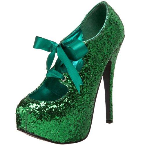 Bordello - Zapatos de vestir para mujer, Green Gltr, 39