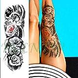 Baobaoshop 3 Piezas Impermeable Tatuaje Tatuaje Pegatina Monstruo ángel Batalla Reloj de Bolsillo Lotus Brazo Completo Tatuaje Tatuaje Hombres y Mujeres