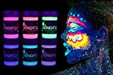UV Neon Face & Body Paint Metallic Paint (6 Bottles 0.75 oz. Each) - Shimmer Makeup Blacklight Reactive Fluorescent Paint - Safe, Washable, Non-Toxic, By Midnight Glo