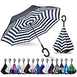 ZOMAKE Inverted Stockschirme, Innovative Schirme Double Layer, Winddicht Regenschirm, Freie Hand,Umgedrehter Regenschirm mit